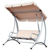 Outsunny Beige Garden Swing Chair | 3-Seater Outdoor Hammock