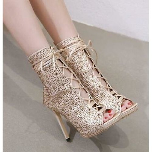 Shiny Rhinestones Lace Up Ankle Boots Chic Heels Sandals Stilettos