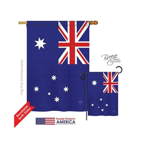Breeze Decor 08122 Australia 2-Sided Vertical Impression House Flag - 28 x 40 in.