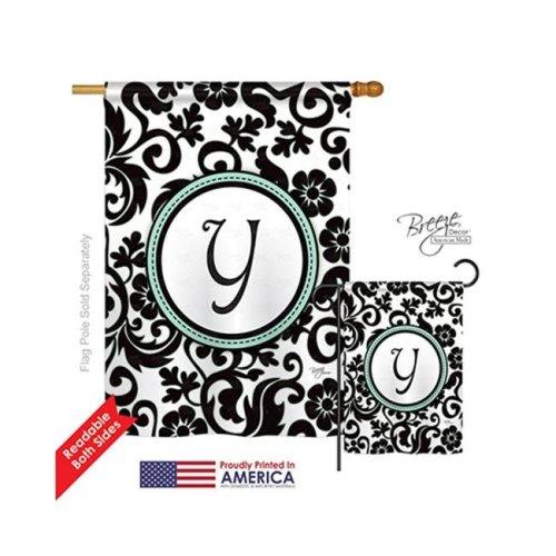 Breeze Decor 30077 Damask Y Monogram 2-Sided Vertical Impression House Flag - 28 x 40 in.