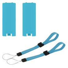 Battery cover & wrist strap kit for Nintendo Wii remote controller - 4 in 1 pack blue - ZedLabz