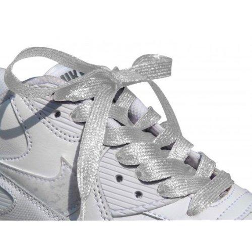 White Coloured Metallic Sparkly Glitter Flat Shoelaces