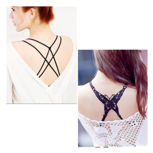 Women Underwear Shoulder Strap Back Cross Bra Straps(2 Pairs), Set E