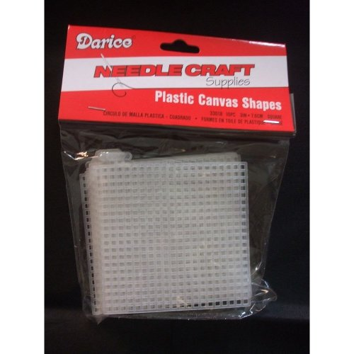 "Darice 3"" (7.6cm) Plastic Canvas Squares - Pack of 10"