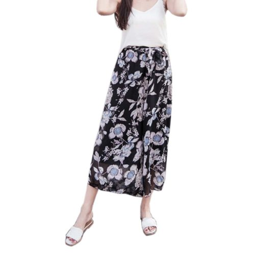 Stylish Printing Design Loose Fitting Pants Wide Leg Trousers Slacks for Women, #04