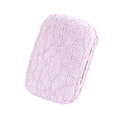Contact Lens Case Solution Lenses Holders Box Travel Kit - Lace/Purple