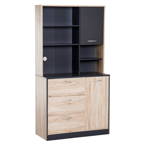 HOMCOM Wooden Freestanding Kitchen Multi Purpose Storage Cabinet Storage Microwave Organiser Cupboard with Doors & Drawers Dining Room Furniture
