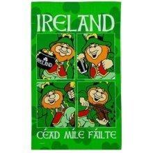 Ireland Leprechauns Tea Towel Souvenir Gift Green Irish Dancing Pot Gold Violin