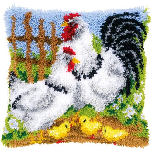 "Vervaco Cushion Latch Hook Kit 16""X16""-Chicken Family On A Farm"