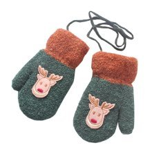 Cartoon Deer Plush-lined Hand Warmer Toddler Warm Gloves with String, #10