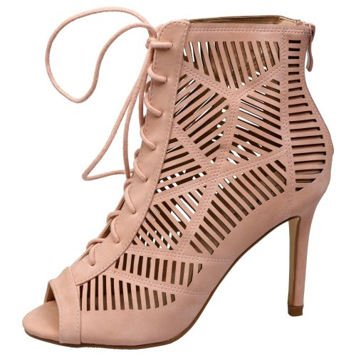 Anais Womens High Stiletto Heep Lace Up Peep Toe Ankle Boots