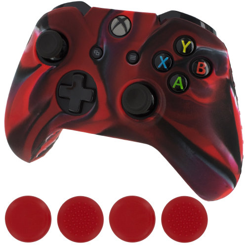 Silicone grip cover skin & red thumb caps for Xbox One - Red camouflage ZedLabz