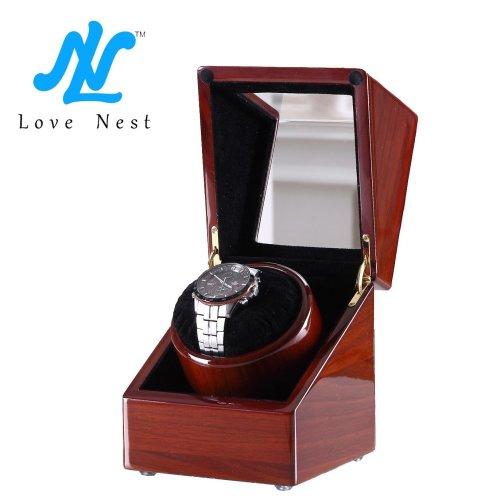 Love Nest Piano Finish Handmade Wood Single Automatic Watch Winder Box