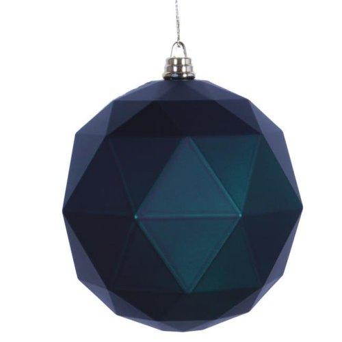 Vickerman M177374DM 4.75 in. Midnight Green Matte Geometric Christmas Ornament Ball - 4 per Bag