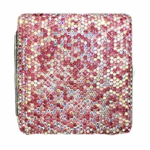 Shiny Cigarette Case Portable Cigarette Holder,Pink Rhinestones