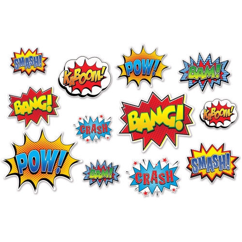 Pack of 12 Hero Action Sign Cutouts - Superheroes Party Decorations