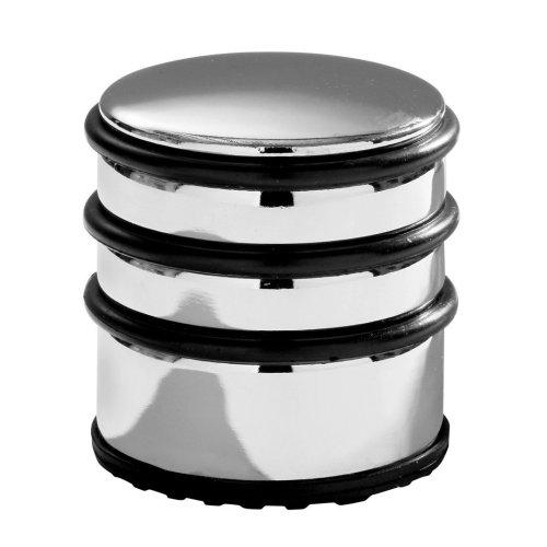 Premier Housewares Chrome Door Stop with Black Rubber Protective Rings, 8 x 7 x 7 cm