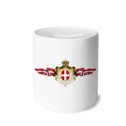 Denmark National Emblem Country Symbol Money Box Saving Banks Ceramic Coin Case Kids Adults
