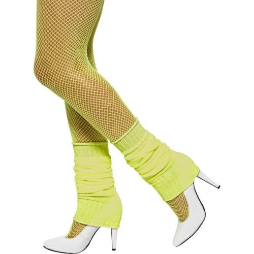Smiffy's Unisex Adult Neon Pink Leg Warmers, Neon Yellow, One Size, Back To The -  yellow leg warmers 80s fancy dress neon legwarmers costume