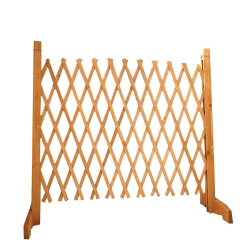 Solid Wood Expanding Fence | H:90cm x W:30-190 cm | Easylife | Natural Wood