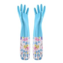 2 Pairs Rubber Cleaning Gloves with Lining Long Dishwashing Gloves, Blue