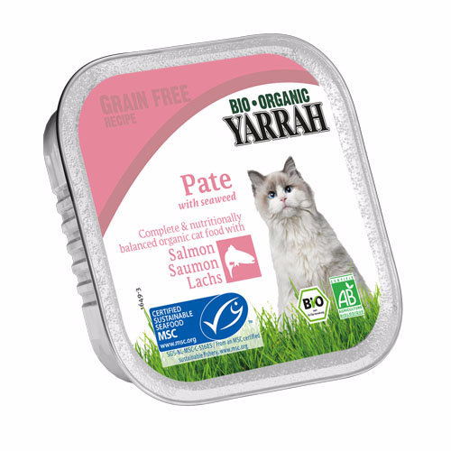Yarrah  Cat Food - Pate With Msc Salmon & Seaweed 100g x 16
