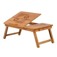 Homcom Foldable Bamboo Laptop Tray & Drawer | Adjustable Laptop Stand