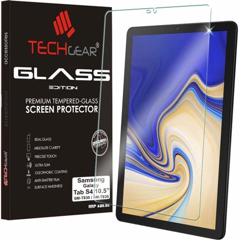 TECHGEAR GLASS Edition fits Samsung Galaxy Tab S4 10.5 Inch (SM-T830 / SM-T835) - Genuine Tempered Glass Screen Protector Guard Cover