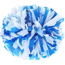 2 PCS Team Sports Cheerleading Poms Match Pom Plastic Ring Blue+White