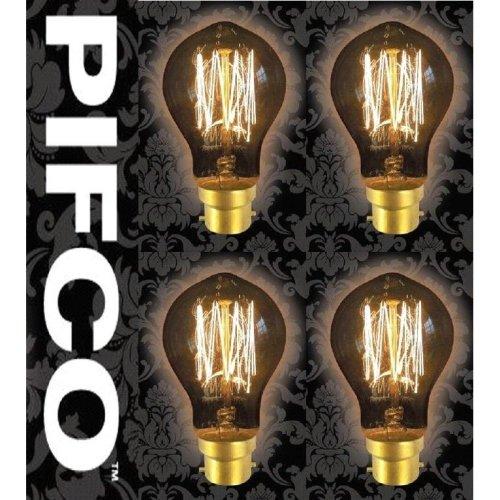4 X PIFCO GLS 40 Watt B22 Bayonet Vintage Mini Globe Retro Light Bulbs