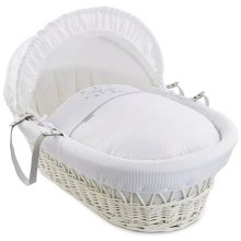 Clair de Lune Stardust White Wicker Moses Basket inc. bedding, mattress & adjustable hood (White)