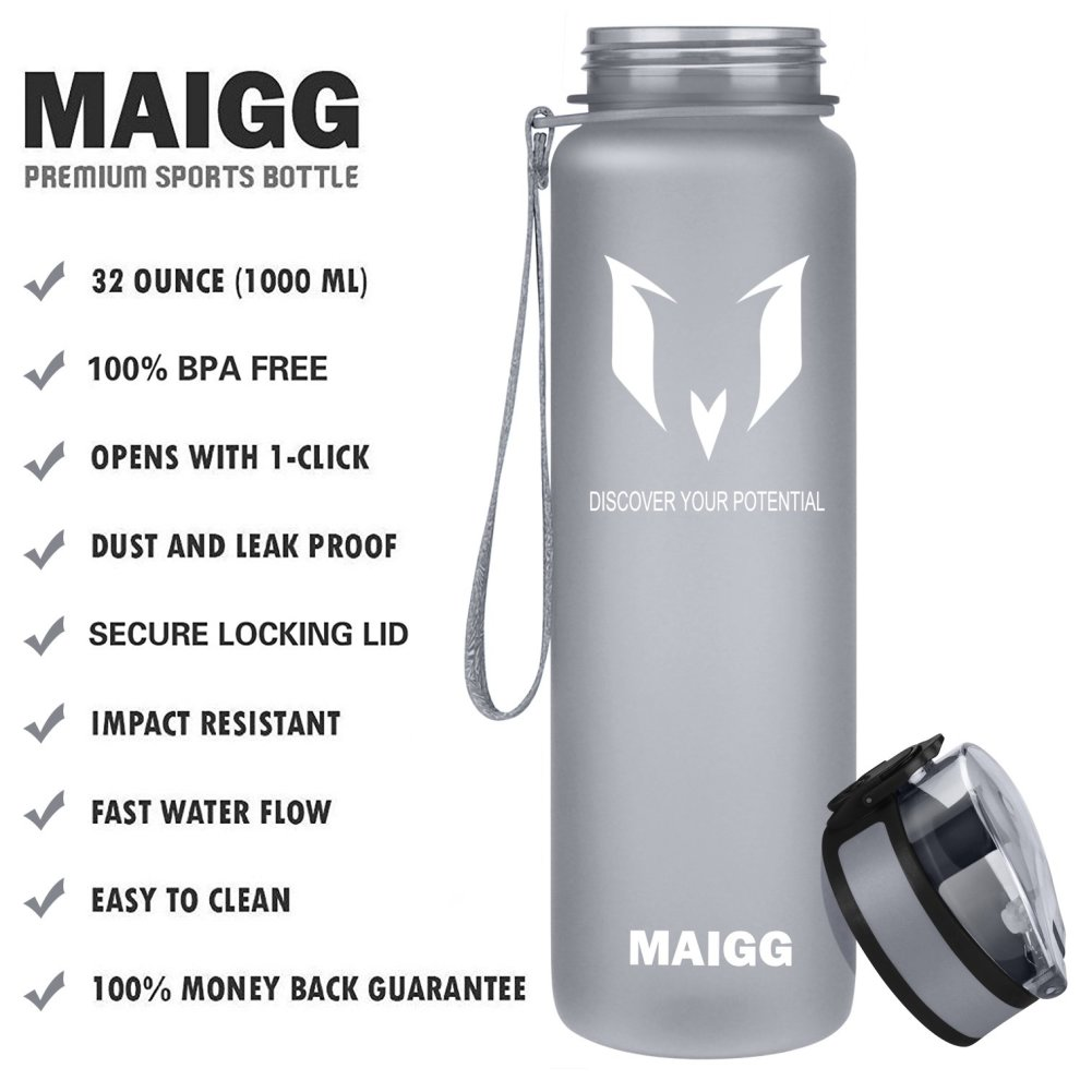 94515fe3fb ... MAIGG Best Sports Water Bottle- 32oz - Eco Friendly & BPA-Free Plastic  ...