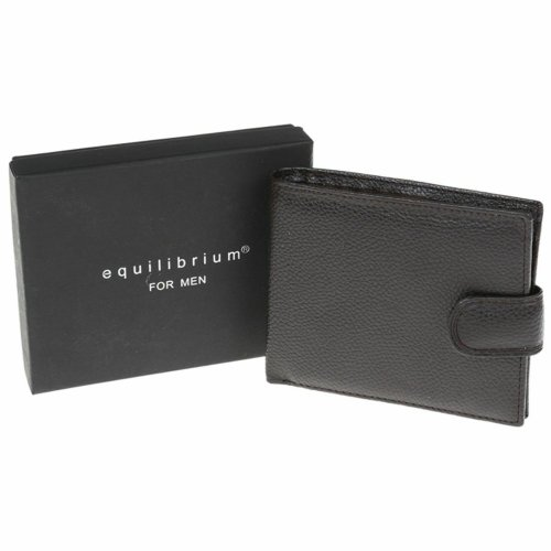 Equilibrium for Men Brown Folding Wallet Tab Stud Fastening ID Holder
