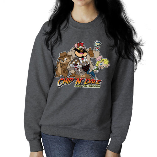 (XX-Large, Charcoal) Chip N Dale Last Crusaders Indiana Jones Rescue Rangers Women's Sweatshirt