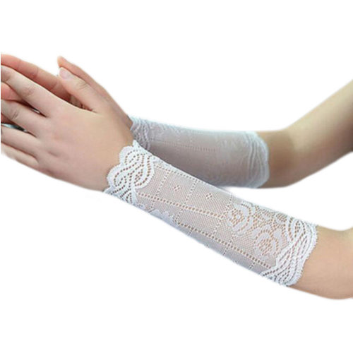 Lace Outdoor Sunscreen Clothing Women Wristbands Breathable Sun Protective Sleeves 22 CM-White
