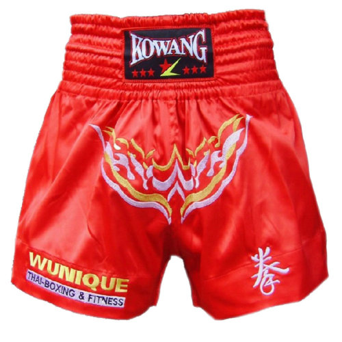 Embroidery Red Kick Boxing MMA Brief Muay Thai Shorts Fight Trunks, XXL