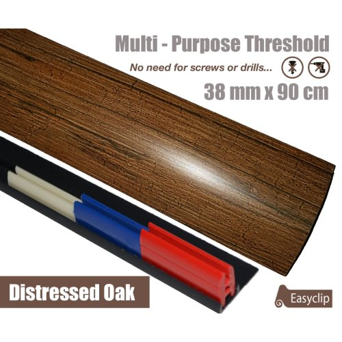 Distressed Oak Multi Purpose Threshold Strip 90cm Adhesive Clip System