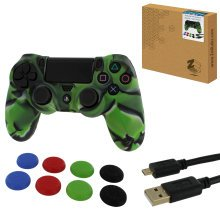 ZedLabz protect & play kit for PS4 inc silicone cover, thumb grips & 3m charging cable - camo green