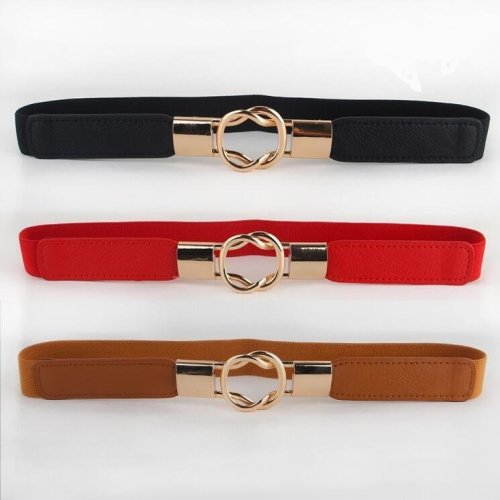 Free Shipping Fashion women\'s belt elastic waistband gold circle buckle small belts red thin cummerbund woman belt strap brown