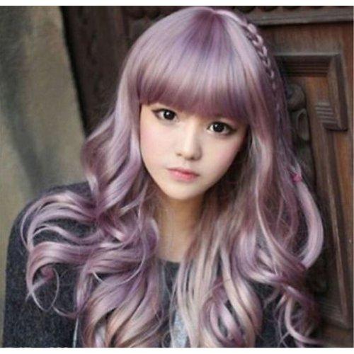 Long Purple Wavy Curly Beauty Women Lady Cosplay Lolita Hair Wigs Wig