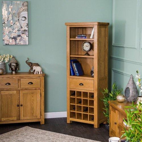 Portland Oak Bookcase With Wine Holder