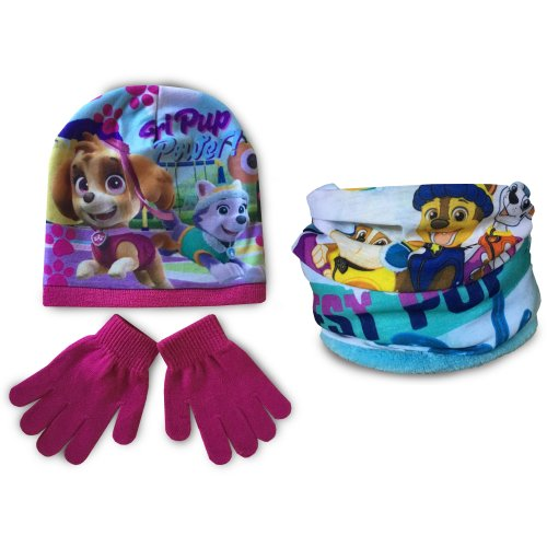 Paw Patrol Hat, Snood and Gloves Set - Pink