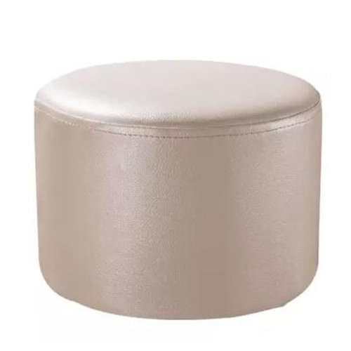 Round Faux Leather Modern Small Stool Shoes Stool  Sofa Pier Ottoman Stool, Beige