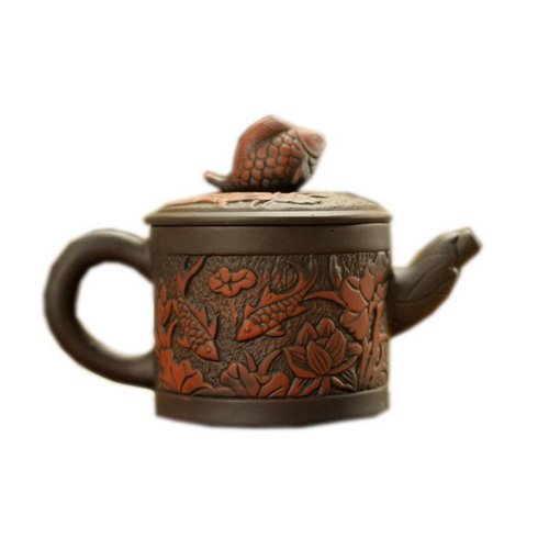Two Carps in Lotus Pond Purple Clay Teapot