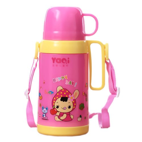 Rabbit Summer/Outdoor Leak Proof Drinking Sippy Bottle with Strap,17oz, Blue