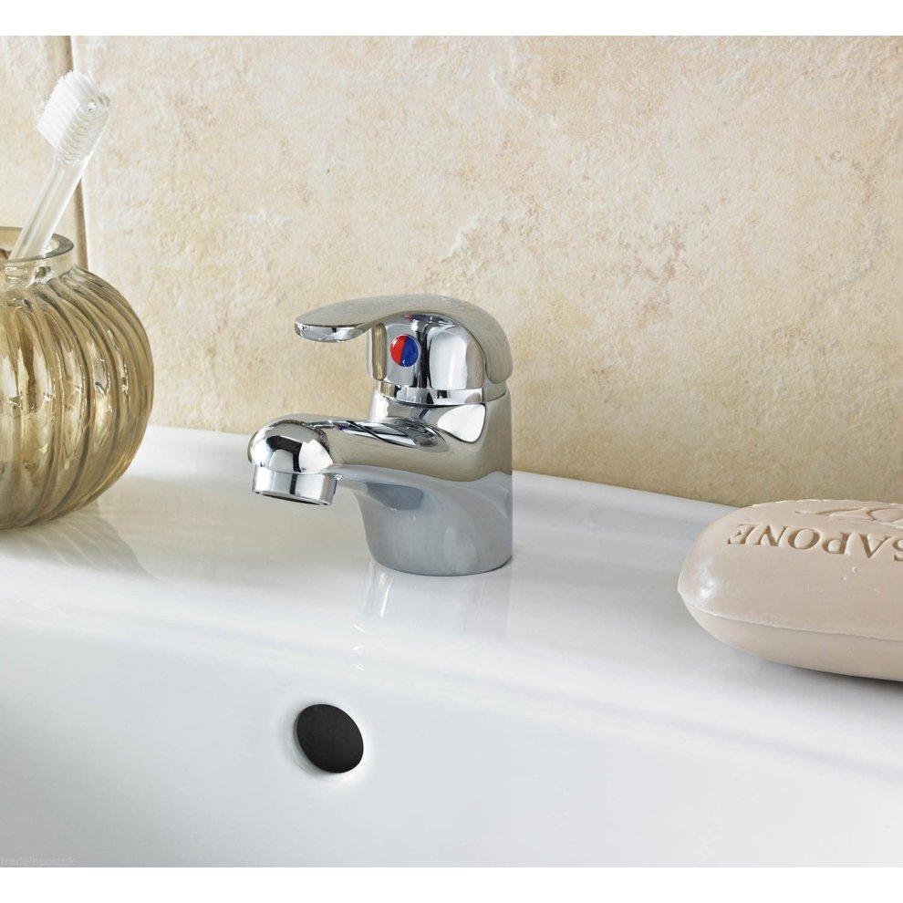 Chrome mono basin mixer tap clicker plug single lever for Bathroom sink lever taps
