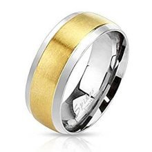 Brushed Gold Plated Stepped Edge Surgical Steel 6mm Width Band Ring