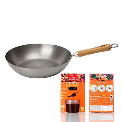 School of Wok Skinny Wok Carbon Steel Healthy Eating Wok, Silver, 13-Inch