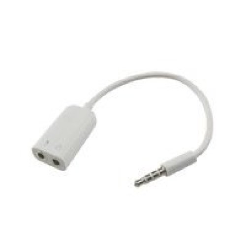 eSTUFF ES2050Cable Adapter Adaptor Cable (3.5mm, 2X 3.5mm, Male/Female, White)