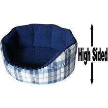 """Dog Bed Thick Blue Chequered Material Fleece 22"""""""